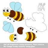 Papierowa dzieciak gra Łatwy zastosowanie dla dzieciaków z pszczołą ilustracja wektor