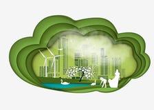 Papierowa falcowanie sztuki origami stylu ilustracja Energii odnawialnej ekologii technologii władzy oszczędzania ekologicznie ży Zdjęcia Stock