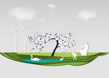 Papierowa falcowanie sztuki origami stylu ilustracja Energii odnawialnej ekologii technologii władzy oszczędzania ekologicznie ży Obrazy Stock