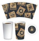 Papierowa filiżanka dla gorącego napoju z znaczkami pocztowymi Zdjęcia Royalty Free