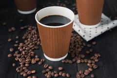 Papierowa filiżanka gorąca kawa Fotografia Royalty Free