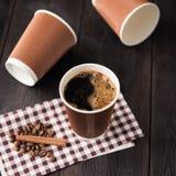 Papierowa filiżanka gorąca kawa Fotografia Stock