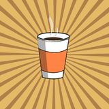Papierowa filiżanka z gorącą kawą na opromienionym tle ilustracja wektor