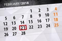 Papierowa kalendarzowa data 21 miesiąc Luty 2018 Zdjęcie Royalty Free