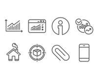 Papierowa klamerka, pakuneczka tropić i statystyk ikony, Wykres, sieć ruch drogowy i Smartphone znaki, ilustracji