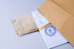 Papierowa koperta stemplujący Ściśle Tajny z papirusem Obrazy Stock