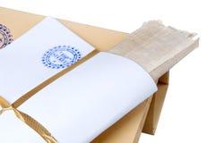 Papierowa koperta stemplujący Ściśle Tajny z papirusem Fotografia Stock