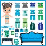 Papierowa lala z ubraniami ustawiającymi ilustracji