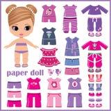 Papierowa lala z ubraniami ustawiającymi Zdjęcia Royalty Free