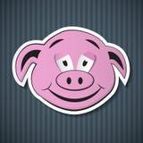 Papierowa Różowa świni głowa royalty ilustracja