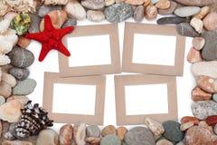 Papierowa rocznik fotografii rama z czerwoną rozgwiazdą Obrazy Royalty Free