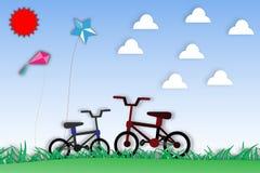 Papierowa sztuka bicykl i natura - wektorowa ilustracja Fotografia Stock