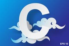 Papierowa sztuka charakteru C chmura, niebieskie niebo Zdjęcie Royalty Free