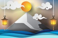 Papierowa sztuka Fuji morza i góry widoku krajobraz Fotografia Royalty Free