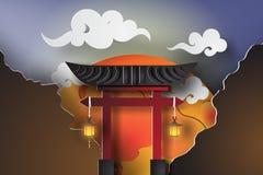 Papierowa sztuka Japonia brama z krajobrazową podróżą Zdjęcia Royalty Free