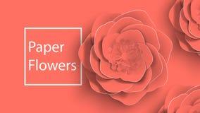 Papierowa sztuka, lato wzrastał kwiaty na żywym koralowym koloru tła cięciu papier budowy ilustraci zapas pod wektorem fotografia stock