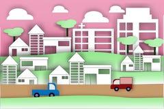 Papierowa sztuka miasto styl życia - wektorowa ilustracja Obraz Royalty Free