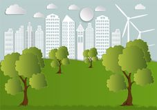 Papierowa sztuka miasto z drzewami i chmurami Ekologii Origami pojęcie Obraz Stock