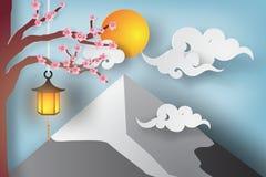 Papierowa sztuka Piękny krajobraz z Sakura gałąź Zdjęcia Royalty Free