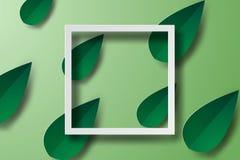 Papierowa sztuka rama z zielonym liściem, sztandary Obraz Royalty Free