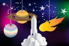 Papierowa sztuka rozpoczęcie rakieta z przestrzenią Obraz Royalty Free