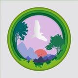 Papierowa sztuka rzeźbi ptak na niebie w naturze i zwierzę pomysle lasowej tła, Origami pojęcia, symbol obfitość natura royalty ilustracja