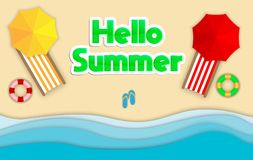 Papierowa sztuka, wektor odizolowywał plażową ilustrację Cześć lato z plażą, morzem i parasolem, Obrazy Stock