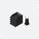 Papierowa taca Isometric Biurko kartoteki stojaka Wektorowy element Może Używać Dla kartoteki, stojak, taca projekta pojęcie Zdjęcia Royalty Free
