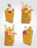 Papierowa torba z jedzenia chlebem i owoc, warzywo ve Zdjęcie Stock