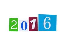 Papierowa wycinanka 2016 rok liczba Obraz Royalty Free