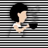Papierowa wycinanki kobieta Pije kawę Obraz Stock