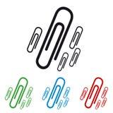 Papierowe klamerki Odizolowywać Na bielu - Colourful Wektorowe ikony - ilustracja wektor