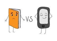 Papierowe książki versus książki Zdjęcie Royalty Free