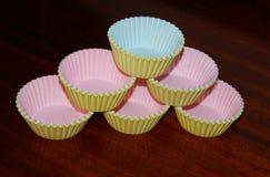 Papierowe słodka bułeczka filiżanki Fotografia Stock