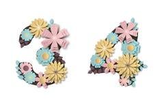 Papierowe sztuka kwiatu cyfry Piękny romantyczny delikatny liczebnik w pastelowych kolorach royalty ilustracja
