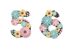 Papierowe sztuka kwiatu cyfry Piękny romantyczny delikatny liczebnik w pastelowych kolorach ilustracji