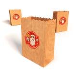 Papierowe torby z z Święty Mikołaj zdjęcie royalty free
