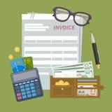 Papierowego dokumentu faktury forma Pojęcie fakturowa zapłata Podatek, kwit, rachunek Portfel z gotówkowym pieniądze, złote monet ilustracji