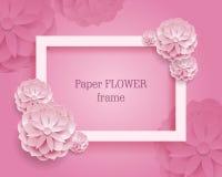 Papierowego kwiatu rame menchii prostokątny tło Zdjęcie Stock