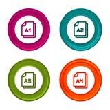 Papierowego rozmiaru A1 A2 A3 A4 ikony Dokumentu symbol Kolorowy sieć guzik z ikoną ilustracji