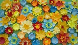 Papierowego rzemiosła kwiatu dekoraci pojęcia granicy zieleni tło Zdjęcia Stock