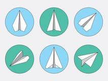 Papierowego samolotu Ciency Kreskowi symbole Ustawiający Papieru Origami samoloty Fotografia Stock