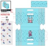 Papierowej torby szablon dla druku Easter wakacyjnego królika i motyla ilustracji