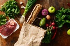 Papierowej torby zdrowie jedzenia ustalony różny mieszkanie nieatutowy Fotografia Stock