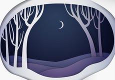 Papierowej zimy nocy lasowy krajobraz, papierowy zimy bajki tło, ilustracji
