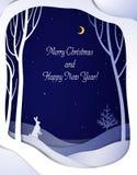 Papierowej zimy nocy lasowy krajobraz z białą zając choinką i, papierowy zimy bajki tło z tekstem, royalty ilustracja