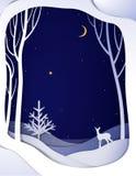 Papierowej zimy nocy lasowy krajobraz z młodymi rogaczami i choinką, papierowy zimy bajki tło z bambi, ilustracji