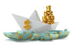 Papierowi łódkowaci dolary Obraz Stock