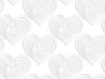 Papierowi biali textured serca Obraz Royalty Free