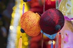 Papierowi lampiony dla sprzedaży na zrozumienia Ma ulicie Ulica tłoczy się przed Wietnamskim jesień festiwalem dla dzieci które o Obraz Stock